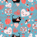 Pattern of cat lovers hearts Stock Photos