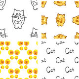 Pattern with cat and mouse Royalty Free Stock Image