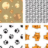 Pattern with cat and mouse Stock Images