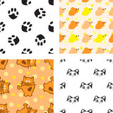 Pattern with cat and mouse Stock Photography