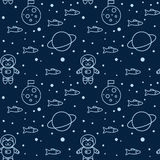 Pattern with cat in space Stock Image