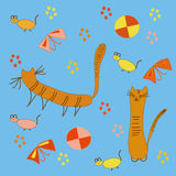 Pattern with cats Stock Photos