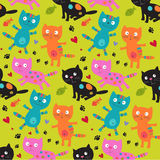 Pattern with cats. Pattern with different colors cats Royalty Free Stock Image