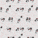 Pattern of the cats and hearts. Texture funny cats Stock Photo