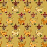 Pattern with cats, mills and mouses Royalty Free Stock Photos
