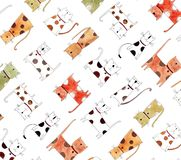 Pattern with cats over white background Stock Images