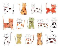 Pattern with cats over white background. Artistic work. Watercolors on paper