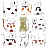 Pattern with cats over white background. Artistic work. Watercolors on paper Stock Photos