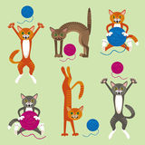 Pattern with cats playing with balls of wool. Vector pattern with funny cats playing with balls of wool Royalty Free Stock Photos