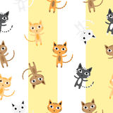Pattern with cats. Seamless pattern with cute cartoon kittens of different coloring on a striped background Stock Photos