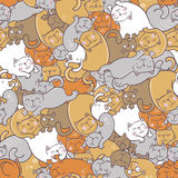 Pattern with cats. Seamless vector pattern with cats Stock Image