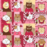 Pattern with cats in the windows Royalty Free Stock Images