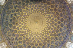 Pattern of ceiling in Sheikh Lotf Allah Mosque. In Isfahan, Iran stock photos
