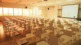 Pattern of the chairs placing for the class to begin. In Morning before class, the first student or teacher must see is this pattern of the chairs ready Royalty Free Stock Image