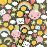 Pattern with characters for St. Patrick`s Day. Royalty Free Stock Photo
