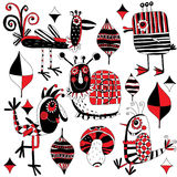 The pattern of cheerful birds and snails. On a white background cheerful birds, snail, mushroom and leaves in red, black and white Stock Images