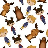 Pattern with cheerful children stock illustration