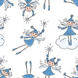 Pattern of the cheerful christmas elves. Seamless background of the playful winter elves vector illustration