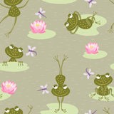 Pattern of cheerful frogs Royalty Free Stock Photo