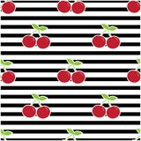 Pattern with cherries. Cherry pattern on black lines, background with horizontal stripes and red berries Royalty Free Stock Image