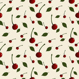 Pattern with cherries and leaves placed randomly on light background Stock Photography