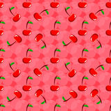Pattern with cherries on a pink background Stock Photo