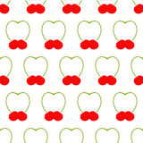 Pattern with cherries. Seamless pattern with two cherries with its springs close in the shape of heart arranged in staggered rows  on white background. Flat Royalty Free Stock Images