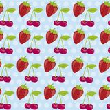Pattern of cherries and strawberries. Background pattern of cherries and strawberries on blue background with white dots Royalty Free Stock Photo