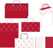 Pattern cherry together bag_1 Stock Image
