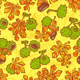 Pattern with chestnut Stock Photo