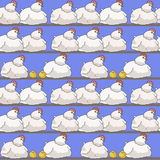Pattern with chickens and hens Stock Images