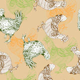 Pattern with chickens Stock Photo