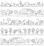 Pattern for children with cute nature elements Royalty Free Stock Image