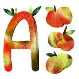 Pattern children`s alphabet letter. A, apples, fruit, collage, apples set vector illustration