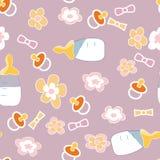 Pattern61. Pattern children's background bottle nipple flowers Stock Image
