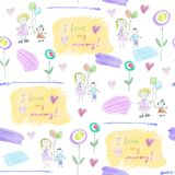 Pattern from children`s drawings for mother`s day. On white background, with inscription vector illustration