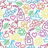 Pattern of children's drawings Royalty Free Stock Photography