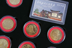 Pattern with Chinese heritage commemorative coins Royalty Free Stock Photos