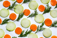 Pattern of chopped vegetables and dill Royalty Free Stock Image