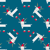 Pattern with christmas goat Royalty Free Stock Images