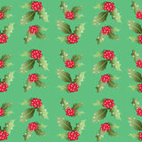 Pattern of Christmas Holly leaves and berries. Royalty Free Stock Image