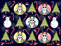 Pattern Christmas panda with a snowman Stock Photography