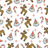 Pattern Christmas. Seamless Halloween flat design. Design for wrapping paper, paper packaging, textiles, holiday party invitations, greeting card Stock Image
