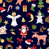 Pattern of the christmas symbols  Stock Photos