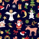 Pattern of the christmas symbols  Stock Photos