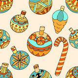 Pattern with christmas toys Royalty Free Stock Photos