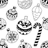 Pattern with christmas toys Stock Photos