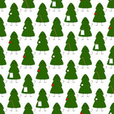 Pattern with Christmas tree characters. Seamless pattern with cute Christmas tree characters holding different things such as ball, star, candy cane and gift bag vector illustration