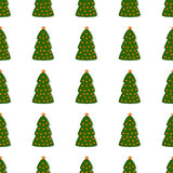 Pattern with Christmas tree Stock Photos