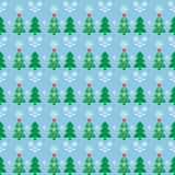 Pattern Christmas tree in the snow. Vector illustration seamless texture two green trees and a Christmas tree in the snow with a bright red star with white lace vector illustration